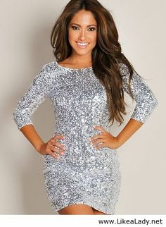 Shimmering Silver Glam Half-Sleeve Sequin Party Dress from Sexy Dresses. Saved to Things I want as gifts. Pretty Dresses, Sexy Dresses, Beautiful Dresses, Prom Dresses, Cheap Dresses, Inexpensive Dresses, Affordable Dresses, Amazing Dresses, Satin Dresses