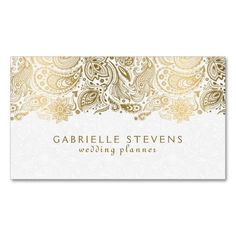 Elegant Gold And White Paisley 2 Wedding Planner Double-Sided Standard Business Cards (Pack Of 100). This great business card design is available for customization. All text style, colors, sizes can be modified to fit your needs. Just click the image to learn more!