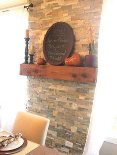 Stone veneer wall – behind bar or wood stove ...