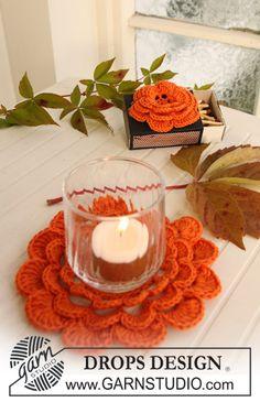 """Gehäkelte DROPS Rose in """"Safran"""" für die Streichholzschachtel oder als Kerzenmanschette . ~ DROPS Design"""