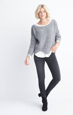 love this look from #stitchfix. cute scallop-hem sweater, skinnies, and ankle boots. please cuff the jeans though!!!