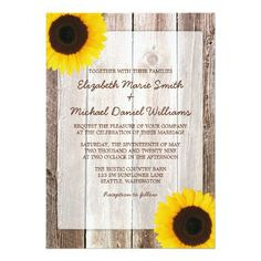 Custom Yellow Rose Rustic Barn Wood Wedding Invitations created by printcreekstudio. This invitation design is available on many paper types and is completely custom printed. Barn Wedding Invitations, Sunflower Wedding Invitations, Bridal Shower Invitations, Invites, Invitations Online, Birthday Invitations, Event Invitations, Invitation Wording, Invitation Design