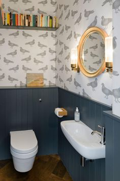 Grey Subway Tiled and Wood Bathroom …
