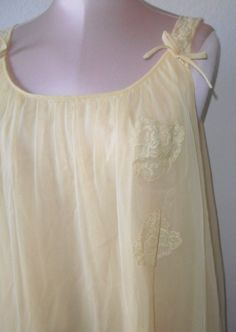 Vintage Nightgown Baby Doll Short Gown Golden Yellow Chiffon Texsheen. $46.00, via Etsy.
