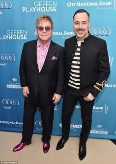 Honorees: Elton and husband David, pictured at the event, received the Distinction in Theatre Award from the Geffen Playhouse on Sunday Read more: http://www.dailymail.co.uk/tvshowbiz/article-3007347/Lady-Gaga-supports-Sir-Elton-John-David-Furnish-honoured-glamorous-fundraiser.html#ixzz3VDY7nOM9 Follow us: @MailOnline on Twitter | DailyMail on Facebook