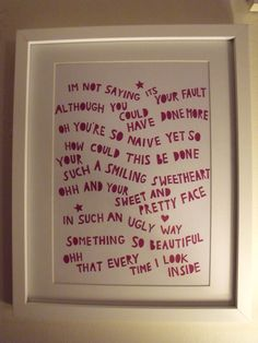 Papercut song lyrics The kooks 'Naive' Any song choice £32.00  My AMAZING Bezza did this for my Birthday! LOVE IT! <3