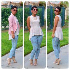 Peplum Top, Floral Jeans, Aldo Heels