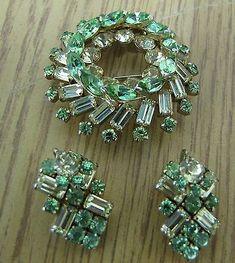 set Sherman rhinestone brooch & earring signed | eBay