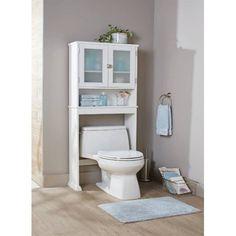 Better Homes & Gardens Over the Toilet Bathroom Space Saver, White Toilet Shelves, Toilet Storage, Small Bathroom Storage, Bathroom Shelves, Storage Bins, Bathroom Organization, Laundry Organizer, Garage Bathroom, Pipe Shelves