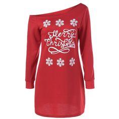 Snowflake Pattern Skew Collar Sweatshirt Dress (€18) ❤ liked on Polyvore featuring dresses, sweatshirt dress and red dress