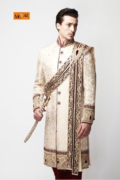 Brocade Sherwani, Mebaz, Sherwani - 386893 ,  ,