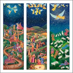 Advent Triptych poster by John August Swanson - for A Thrill of Hope DVD featuring Epiphany, Nativity and Shepherds - for sale at the Eyekons Gallery