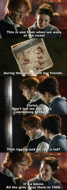 Outlander - Jamie & Claire Ok but Jamie's reaction was priceless as soon as he saw Brianna in a bikini Claire Fraser, Jamie Fraser, E Claire, Jamie And Claire, Outlander Funny, Outlander Quotes, Outlander Book Series, Sam Heughan Outlander, Watch Outlander