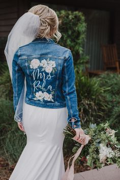 Dress With Jean Jacket, Blue Jean Jacket, Rose Jacket, Jeans Wedding, Wedding Jacket, Jean Jacket Design, Painted Denim Jacket, Neutral Outfit, The Ranch
