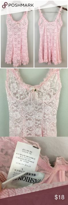 90's Baby Pink Lace Lingerie Vintage Night Dress 90's Baby Pink Lace Lingerie Vintage Night Dress. Size large with stretch. Bra cups have underwire. Very pretty! Thank you for looking at my listing. Please feel free to comment with any questions (no trades/modeling).  •Condition: Very good, no visible flaws.   ✨Bundle and save!✨10% off 2 items, 20% off 3 items & 30% off 5+ items! DB Fashion Bug Intimates & Sleepwear