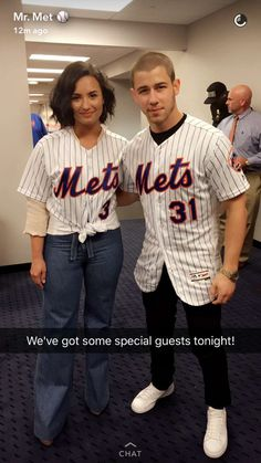 Demi Lovato & Nick Jonas at Mets game Jonas Instagram, Demi Lovato Nick Jonas, Camp Rock, Joe Jonas, My Little Baby, Jonas Brothers, Special Guest, Miley Cyrus, Role Models