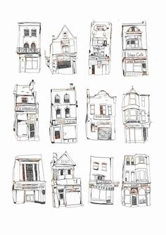 12 London Shopfronts illustrations by Melody Seal created on her travels.