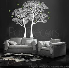 Office Decal Trees Living Room Trees Wall Vinyls by PopDecors
