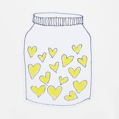Mother's Day Card Yellow Hearts Jar of Hearts I Love You by poosac #springgifts