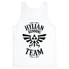 Hylian Running Team - Link has to have some great legs from always running around Hyrule like a crazy person. Throw this shirt on and train hard to protect Hyrule from evil! Show off your love of the Legend of Zelda with this video game and fitness inspired shirt!