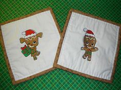 Set of 2 Girl & Boy Gingerbread Cookies Embroidery Potholders