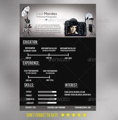 Photographer Resume, Photographer Business Cards, Graphic Design Resume, Cv Design, Resume Design Template, Resume Templates, Template Cv, Photography Templates Free, Resume Cv
