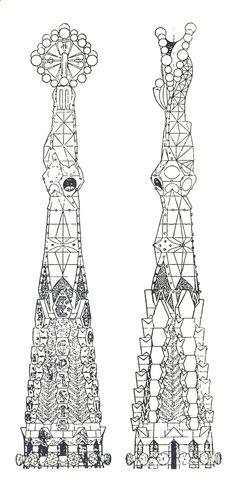 Antonio Gaudi, Elevation of a Pinnacle of the Church of the Sagrada Familia, Barcelona, Spain, 1920s