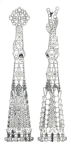 antonio gaudi elevation of a pinnacle of the church of the sagrada familia barcelona