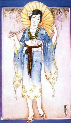 Takabatake Kashou 高畠華宵 (1888-1966) Fashioning Japan and the West, illustration for a magazine - 1920s