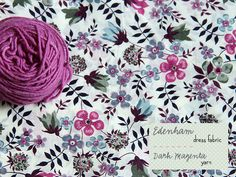 Liberty fabric in raspberry, aubergine, powder blue, navy, soft sage, pale lilac, smokey blue & yarn in magenta (Posy gets Cozy blog)