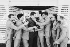 Black and white photography on your wedding is a must. Get your groom + groomsmen to be themselves in their photos.  Matt Lien Photography // Acowsay Cinema