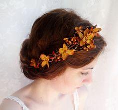 fall wedding hair accessories, copper orange bridal headpiece, autumn wedding flower crown - BRAMBLE - rustic wedding, floral head wreath