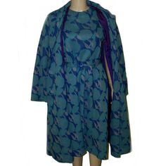 60s Mod dress and coat large blue morning glories by pinehaven2, $75.00