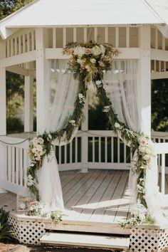 Gazebo decorated as an arbor wedding Garden Wedding, Dream Wedding, Wedding Day, Wedding Gazebo, Gazebo Wedding Decorations, Gazebo Ideas, Floral Wedding, Wedding Flowers, Lush Garden