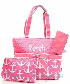 Personalized Anchor Diaper Bag Set Baby Girl by MauriceMonograms