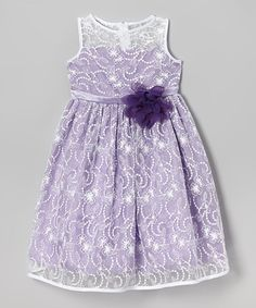 Ivory & Lavender Lace Babydoll Dress - Toddler & Girls