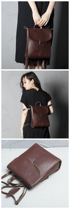 Vintage Leather Backpack for Women, Handmade Bag, Casual Female Backpack