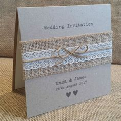 VINTAGE STYLE WEDDING INVITATION with Hessian & Lace Rustic Shabby Chic Sample