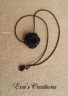 black rose necklace hand made from polymer clay