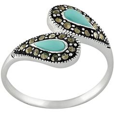 Sterling Silver Marcasite & Simulated Turquoise Bypass Ring (66 CAD) ❤ liked on Polyvore featuring jewelry, rings, multicolor, artificial jewellery, multicolor ring, sterling silver rings, sterling silver jewelry and multi colored rings