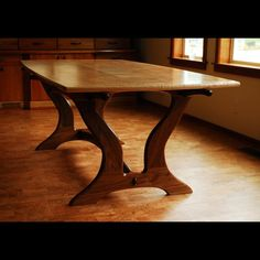 Custom Made Curly Maple/Walnut Dining Table