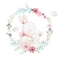 No photo description available. Bunny Nursery, Nursery Art, Scrapbooking Image, Baby Animals, Cute Animals, Rabbit Drawing, Baby Painting, Nursery Wallpaper, Baby Art