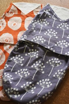 velcro swaddle wraps with downloadable pattern. 1 yard of medium cotton and 1 yard of soft fabric (such as micro fleece)