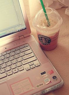 Pink Laptop....Me to a T, always on the computer with a Starbucks Drink <3