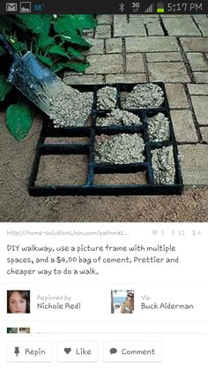 concrete molded brick path using a picture frame. old multi-frame picture frame box used to make stepping stones It's called a collage picture frame. I could do this to my patio and mosaic all the different cement Great way to make the front walk look bet Backyard Projects, Outdoor Projects, Backyard Patio, Garden Projects, Backyard Landscaping, Backyard Designs, Paved Backyard Ideas, Patio Bar, Patio Roof