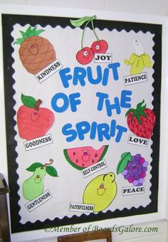 Fruits of the spirit bible bulletin boards, classroom bulletin boards, bulletin board ideas for Bible Bulletin Boards, Christian Bulletin Boards, School Bulletin Boards, Bulletin Board Ideas For Church, Sunday School Rooms, Sunday School Classroom, Preschool Sunday School Lessons, Sunday School Crafts For Kids, Classroom Rules