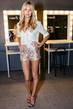 Metallic floral shorts