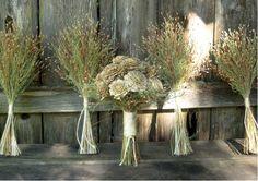 Rustic Ivory & Sage Woodland Wedding Bouquet - Cedar Rose, Lapsana and Ornamental Grass. $88.00, via Etsy.