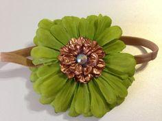 Green Gerbera Daisy Headband with Rhinestone, Green Daisy Hairpiece, Gold Headpiece