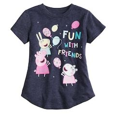 """Toddler Girl Jumping Beans Peppa Pig """"""""Fun With Friends"""""""" Short Sleeve Graphic Tee, Girl's, Size: Med Blue Rebecca Rabbit, Peppa Pig Teddy, Girl Top Dress, Peppa Pig Family, Kids Tops, Girl Bottoms, Jumping Beans, Printed Tees, Toddler Boys"""
